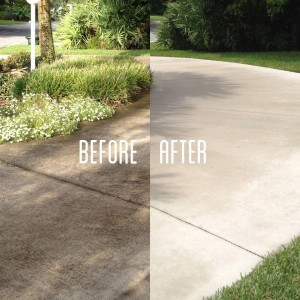 Driveway - pressure washing before and after picture