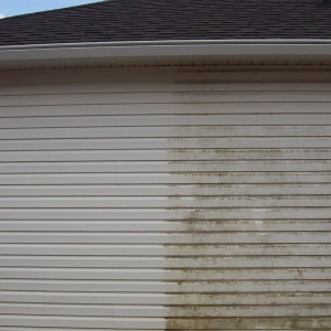Vinyl Siding before and after pressure washing